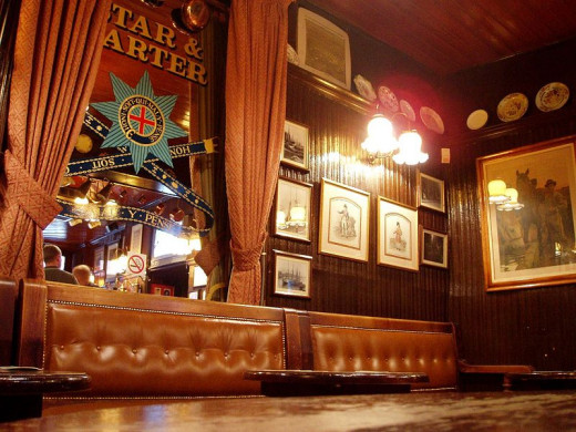 Inside a traditional English pub in Soho
