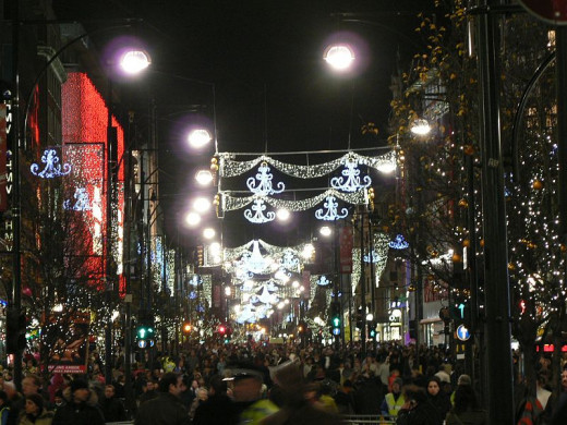 Oxford Street around Christmas time