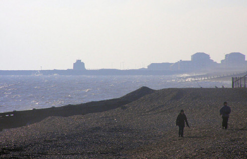 Martello Tower 66 and Sovereign Harbour, Eastbourne, taken at a distance from Pevensey Bay
