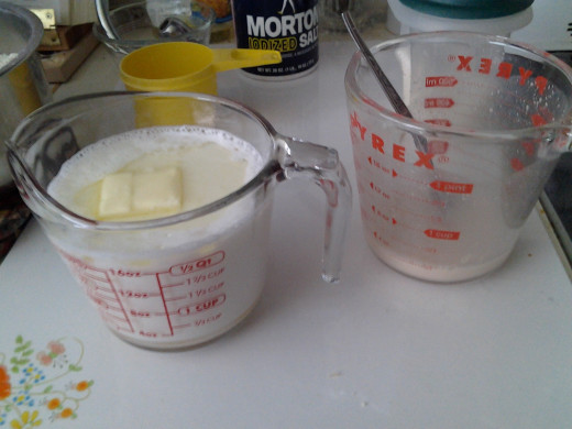 Milk mixture and Yeast mixture