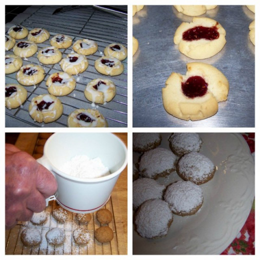 Raspberry Almond Shortbread Thumbprints Cookies and Pecan Puffs.