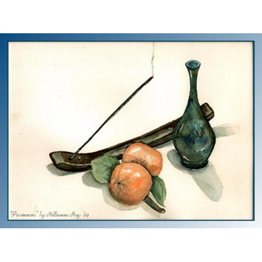 """Persimmons""; watercolor ___©Nellieanna Hay"