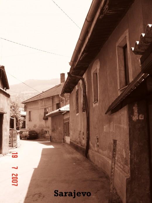 Sepia toned city street
