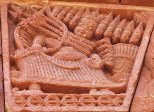 Ravana, King of Lanka; terracotta, Maluti