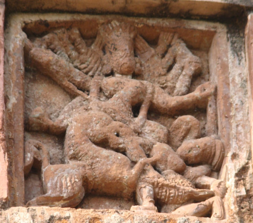 Goddess Durga in terracotta; Maluti (Please note the decay)