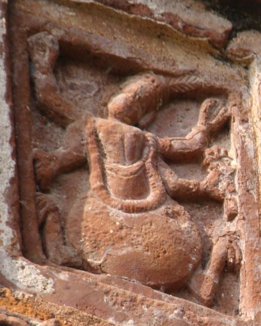 Kurmavatar (Lord Vishnu as a Tortoise) in terracotta; Maluti (Please note the decay)