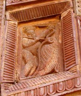 Lord Krishna killing Bakasura the Bird demon; in terracotta; Maluti