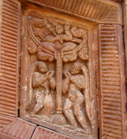 Scene from Krishna Leela (Vastraharan); Terracotta, Maluti