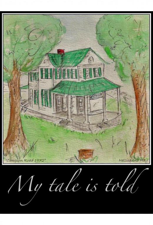 """Campion Road farmhouse, 1972""; a watercolor sketch © Nellieanna Hay"