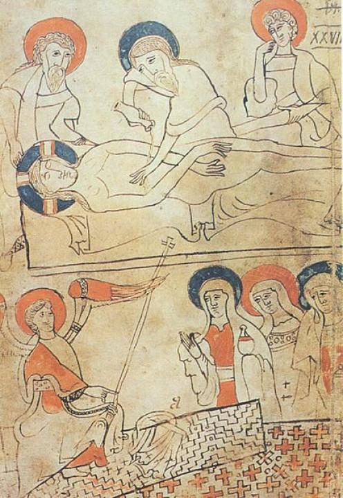 Hungarian manuscript page (1192-1195) depicting the burial of Jesus.