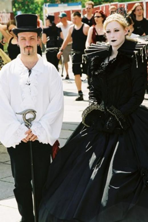 A Goth Couple in Elizabethan Dress