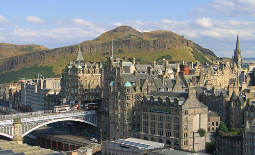 View from Scott Monument of Old Town and Arthur's Seat (Background)
