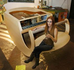 Sara Davenport with her Davenport's Rocking Piano