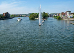 Meuse river, Liège, from Fragnée Bridge. At the extreme right is the confluence of the Meuse and the Ourthe.