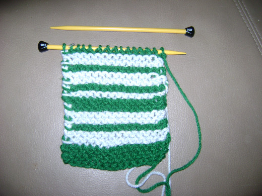 Knitted Stripes in Progress