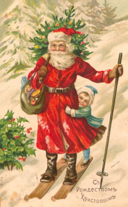 An early 20th century Christmas card showing holly and evergreen tree. This tradition of evergreens goes back thousands of years to winter solstice celebrations