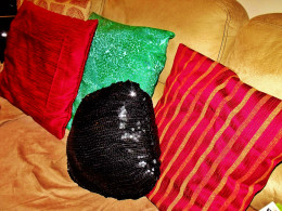 My handmade pillows.  Sequence pillow made from sequenced Halloween pants outfit.