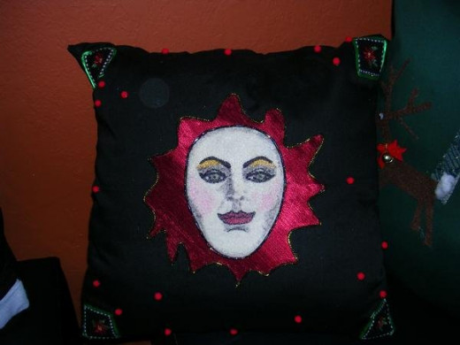 Flower Face Pillow by Rosana Modugno
