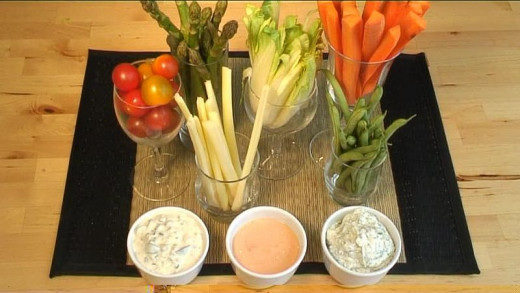 A selection of vegetables and dips