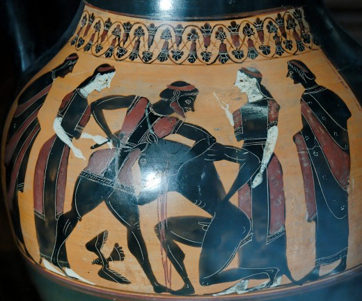 Theseus slays the Minotaur. Black-figure amphora c. 540 BCE.