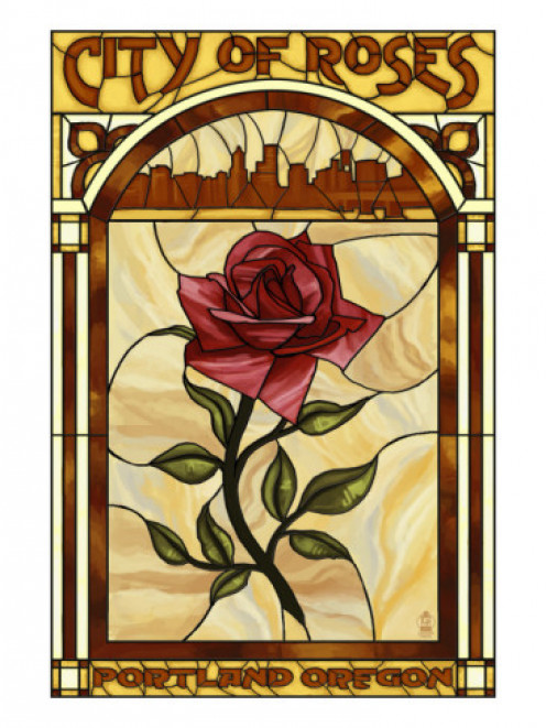 Rose and Skyline Stained Glass - Portland, Oregon