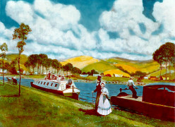 A rather pastoral paining of the Erie Canal, more pleasure than work!