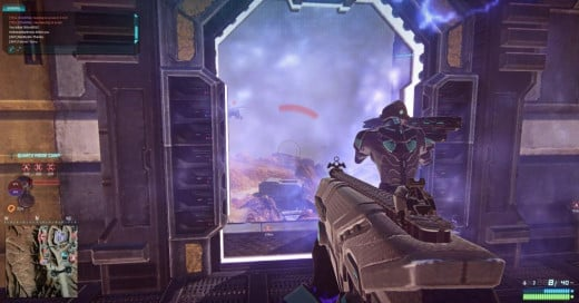 Spawn room at a base in Planetside 2.