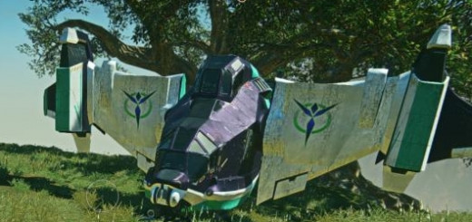 A flying vehicle in Planetside 2.
