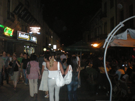 the main strip in Bitola, which was about a mile of western restaurants, bars, and clubs.