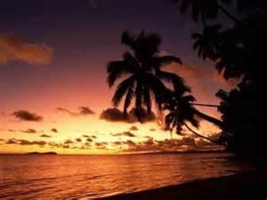 fiji island sunset wallpaper