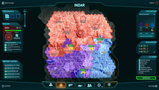 Territory map in Planetside 2, showing the three opposing sides and the territory they control.