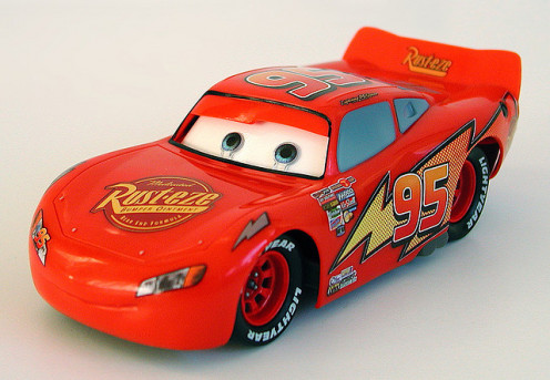 "Lighting McQueen toy from the movie ""Cars"""