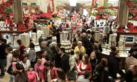A crazy Christmas shopping crowd.