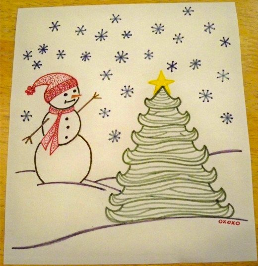 Simple snowman and tree transfer.