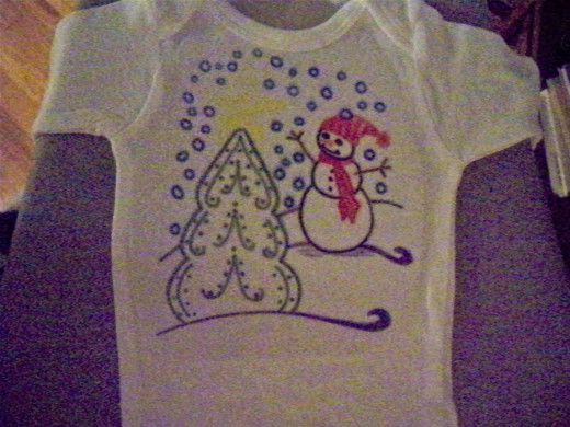 Sorry about the low-quality photo of this Onesie.  Scaling the design small enough took some thought.  :)