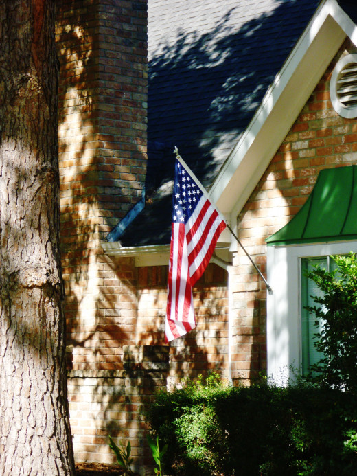 U.S. flags attached to houses