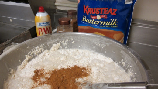 Cinnamon is added to pancake batter.
