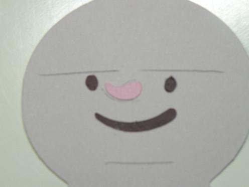 pink nose adhered to brown eyes/mouth side brown nose adhered to brown eyes/mouth side