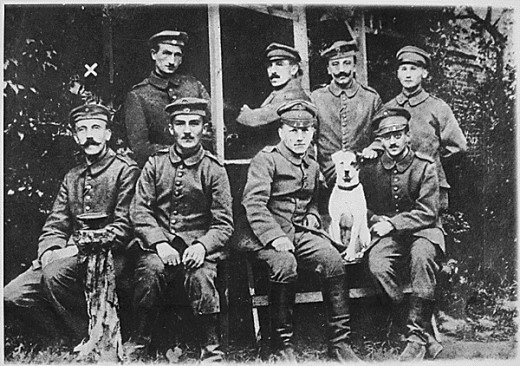 Hitler in World War I. First row, left
