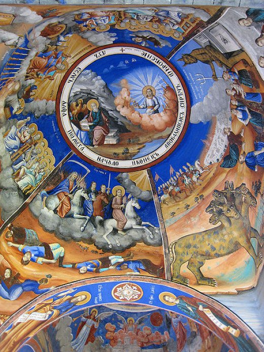 Cathedral ceiling painting depicting a biblical Armageddon