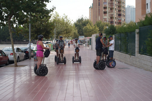 Segways on the streets of Benidorm where they are legal unlike here in the UK