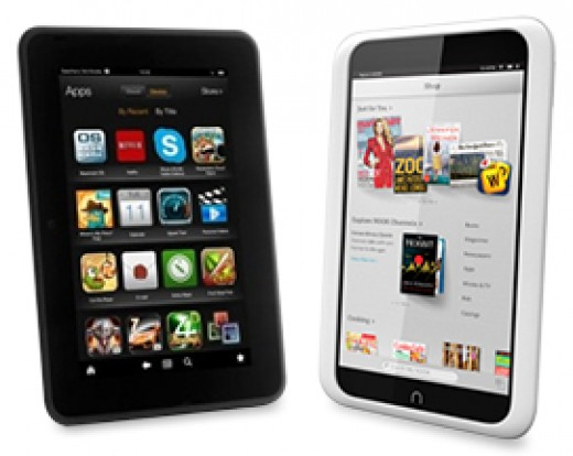Amazon Kindle Fire and Barnes & Noble Nook HD budget tablets side by side