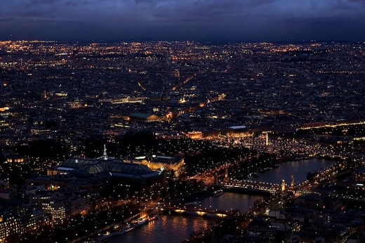 Paris by night from the top floor of the Eiffel Tower