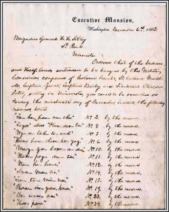 Lincoln's Order Authorizing Execution of 39 Men