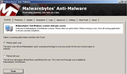 Malwarebyte's anti malware scanner tab