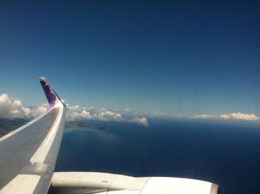 Flying across the Pacific Ocean