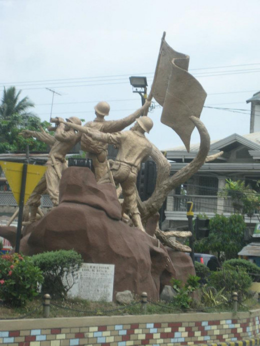 Layac Junction, Bataan featuring Statues of Soldiers fighting during Japanese War