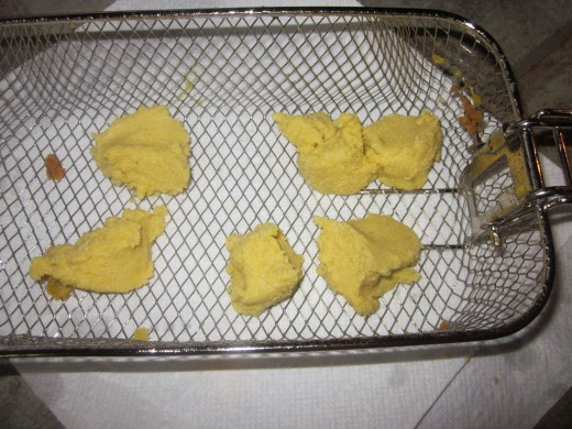 Fritters ready for frying