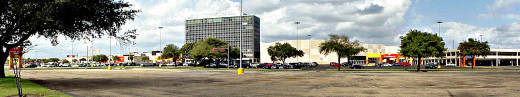 PlazAmericas - a panoramic photo made from the safety of the sidewalk outside the shopping mall