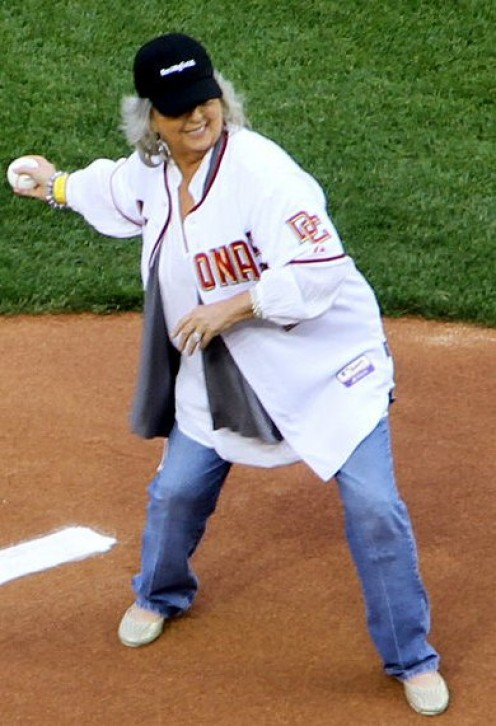 Georgia chef and Food Network TV star, Paula Deen, throwing out the first pitch at a Washington Nationals baseball game in Washington, D.C. A charmer and a show stopper, Deen recently trimmed down, losing 30+ pounds.
